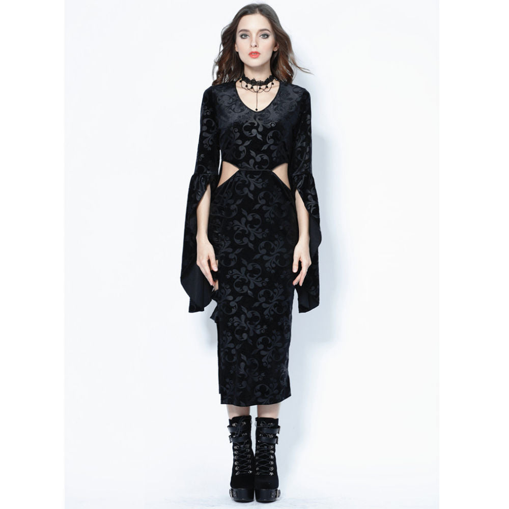 Gothic Flocking Long Dress