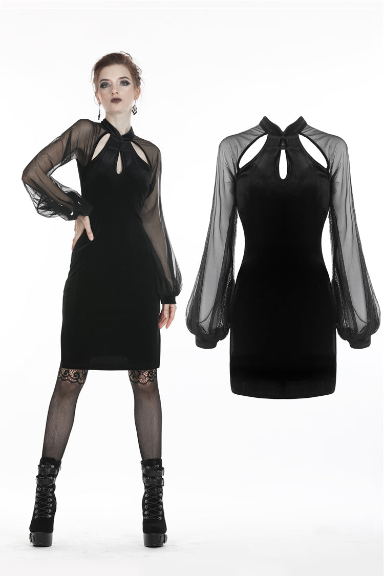 Dark In Love Retro Velvet & Mesh Dress 270