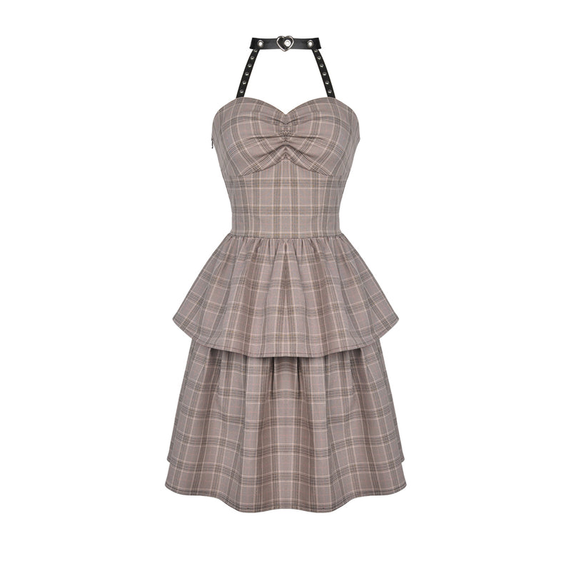 Punk Checked Corset Dress 387