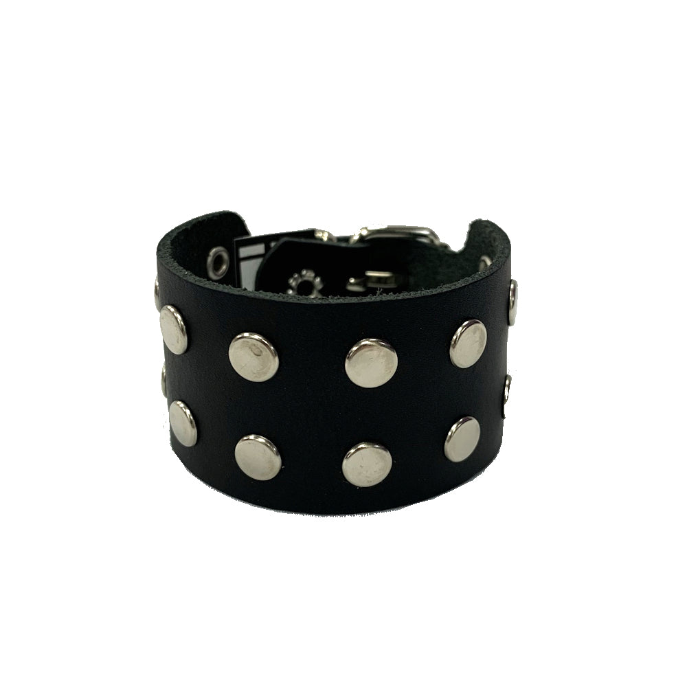 WB6 - 2Row Round Stud Leather Wristband