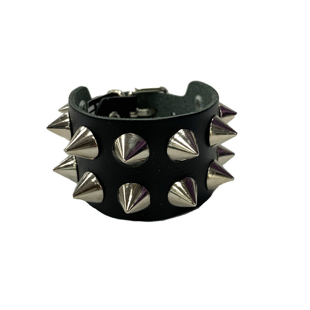 WB8 - 2Row Spikes Leather Wristband