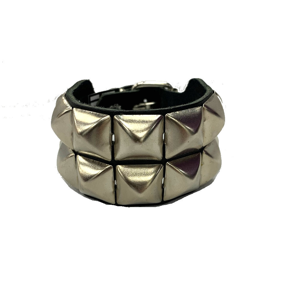 WB2 - 2Row Studs Leather Wristband