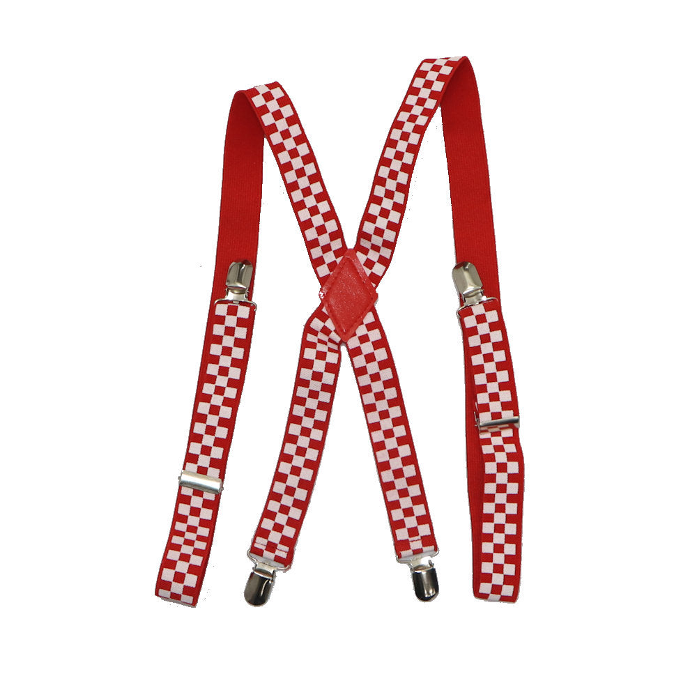 Red Chess Suspenders