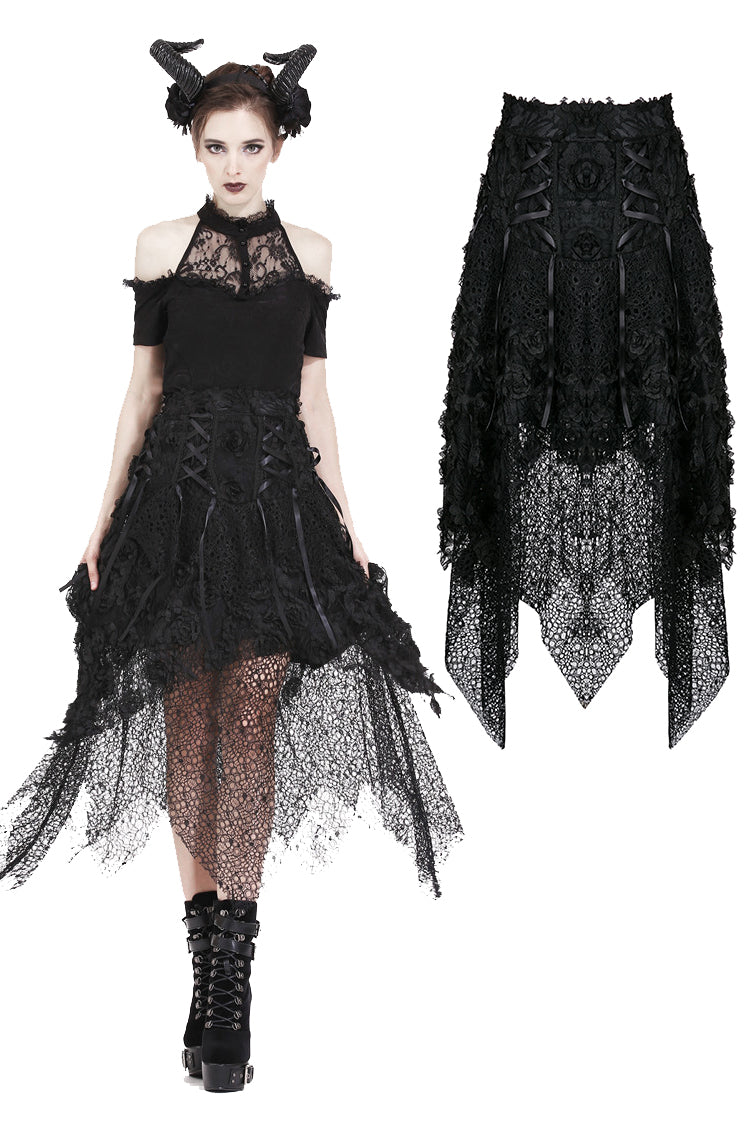 Dark In Love Gothic Disorderly Lace Skirt 126