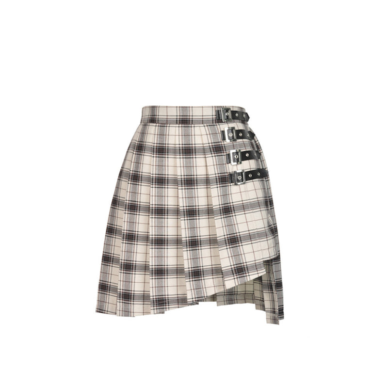 Punk Checked Asymmetrical Skirt 173
