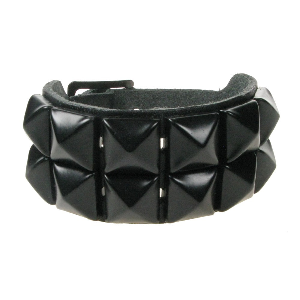 WB009A- 2Row Black Studs Leather Wristband