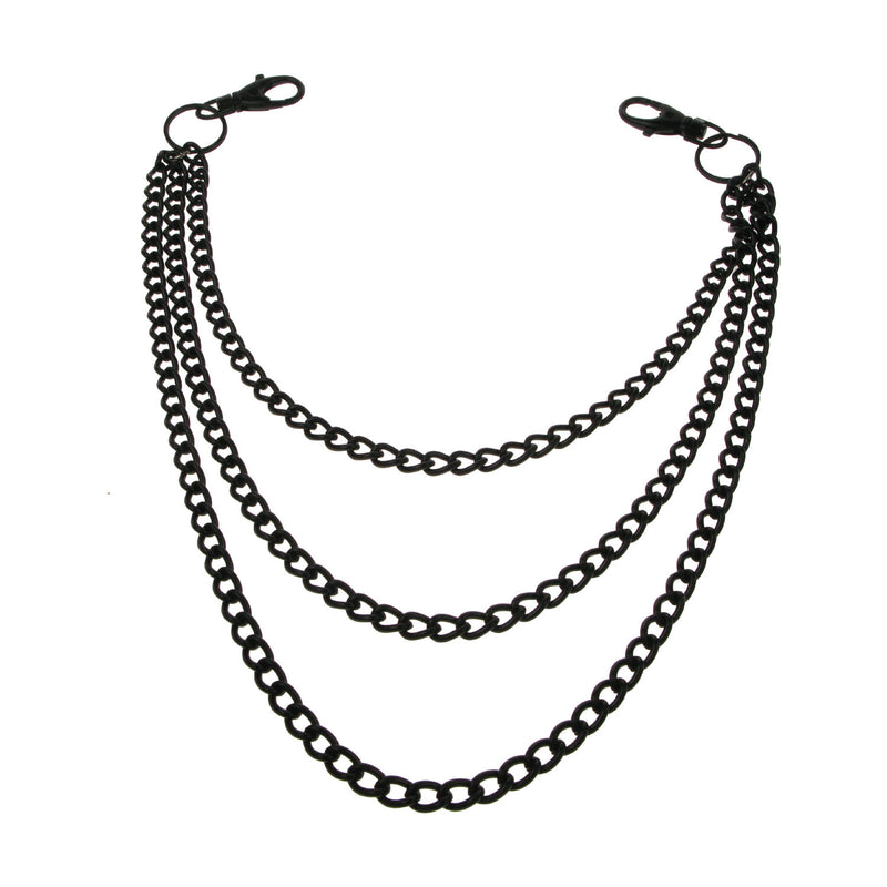 Y1431DB- Triple BLK Diamond Cut Metal Chain