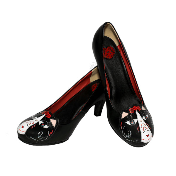 T.U.K. Day Of The Dead Kitty Heel