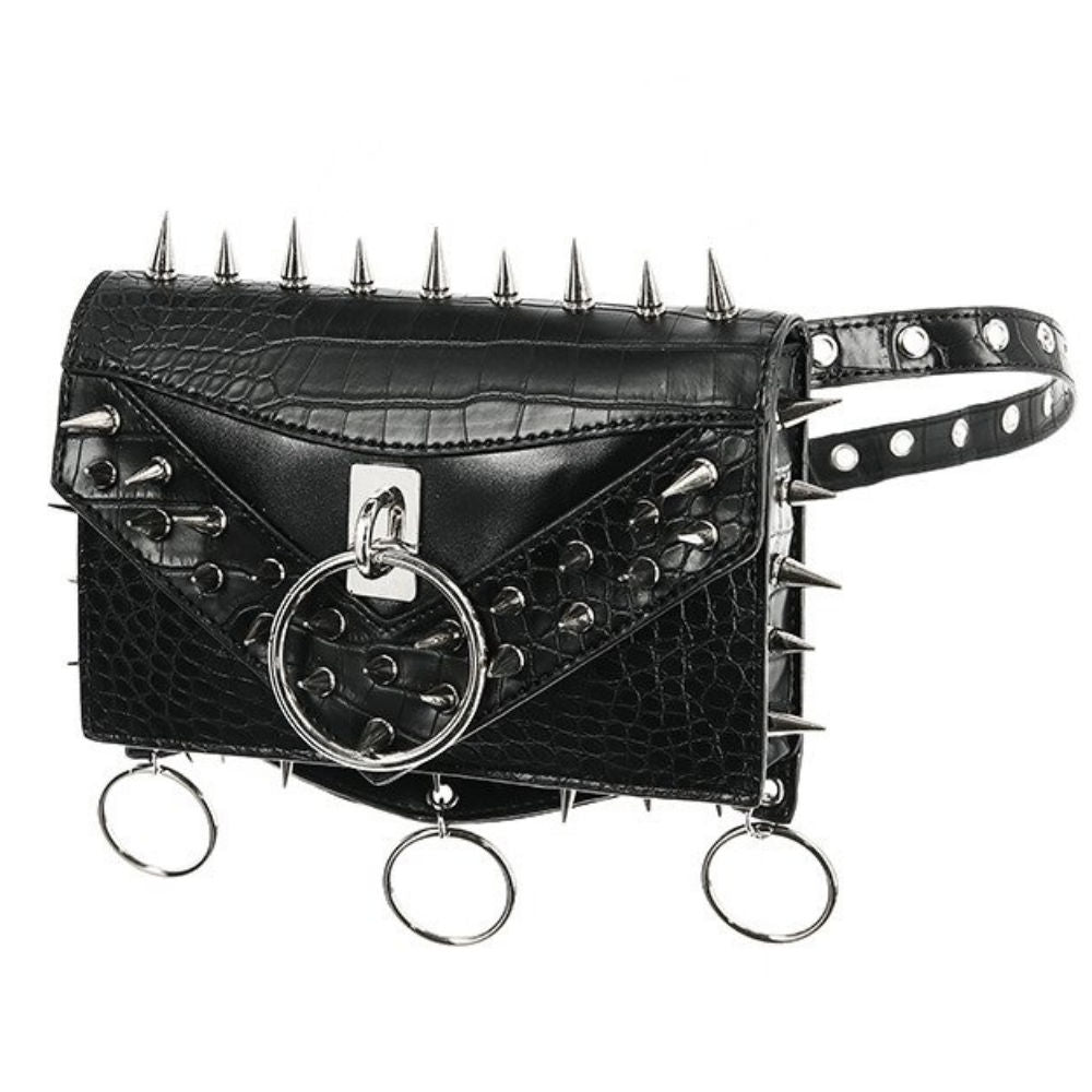 Studded Crocodile Belt Bag