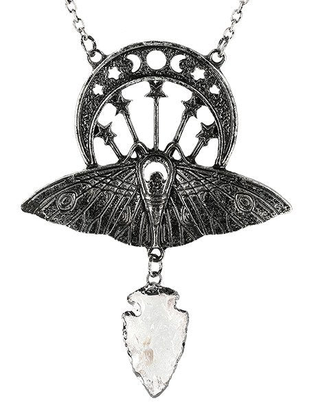 Restyle Crystal Moon Moth Silver Necklace