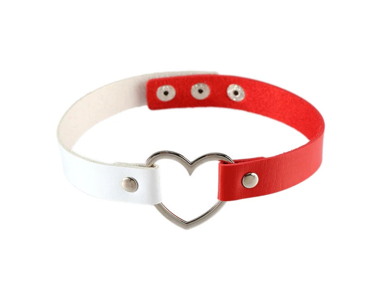 Red & White Heart Choker