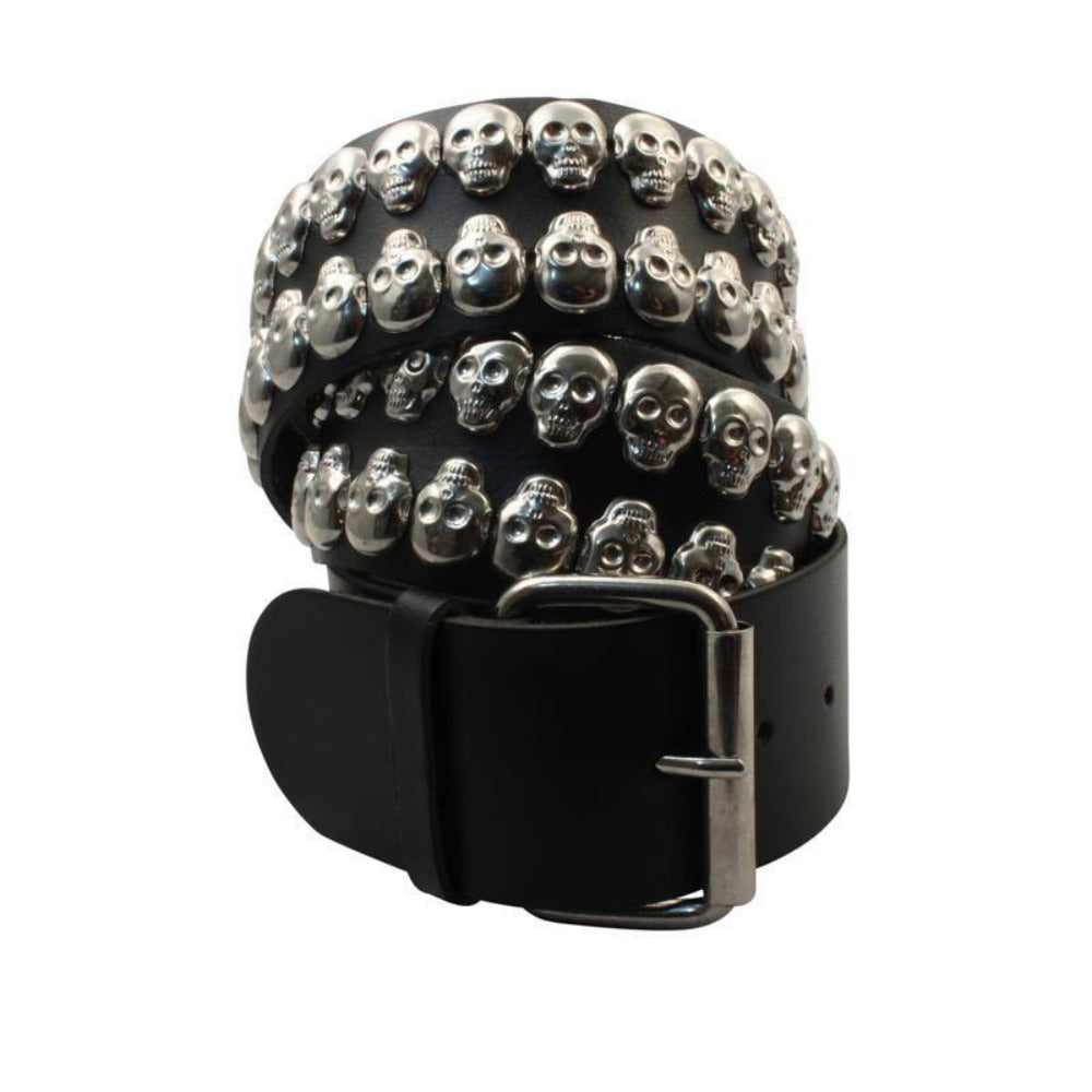 B395 - 2 Row Skulls Leather Belt