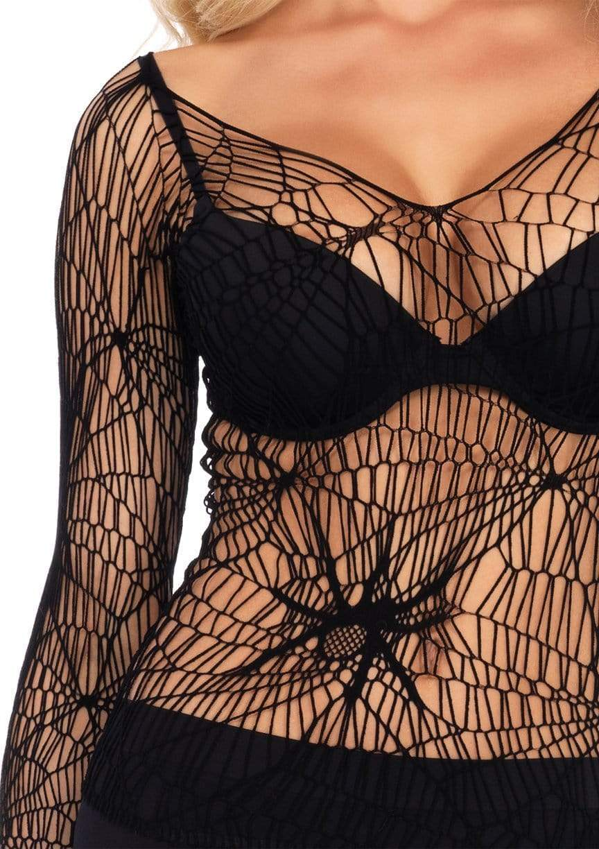 Leg Avenue Black Widow Net Shirt