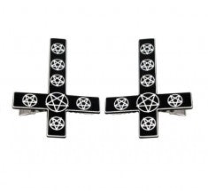 Kreepsville666 Inverted Cross Pentagram Hairslides