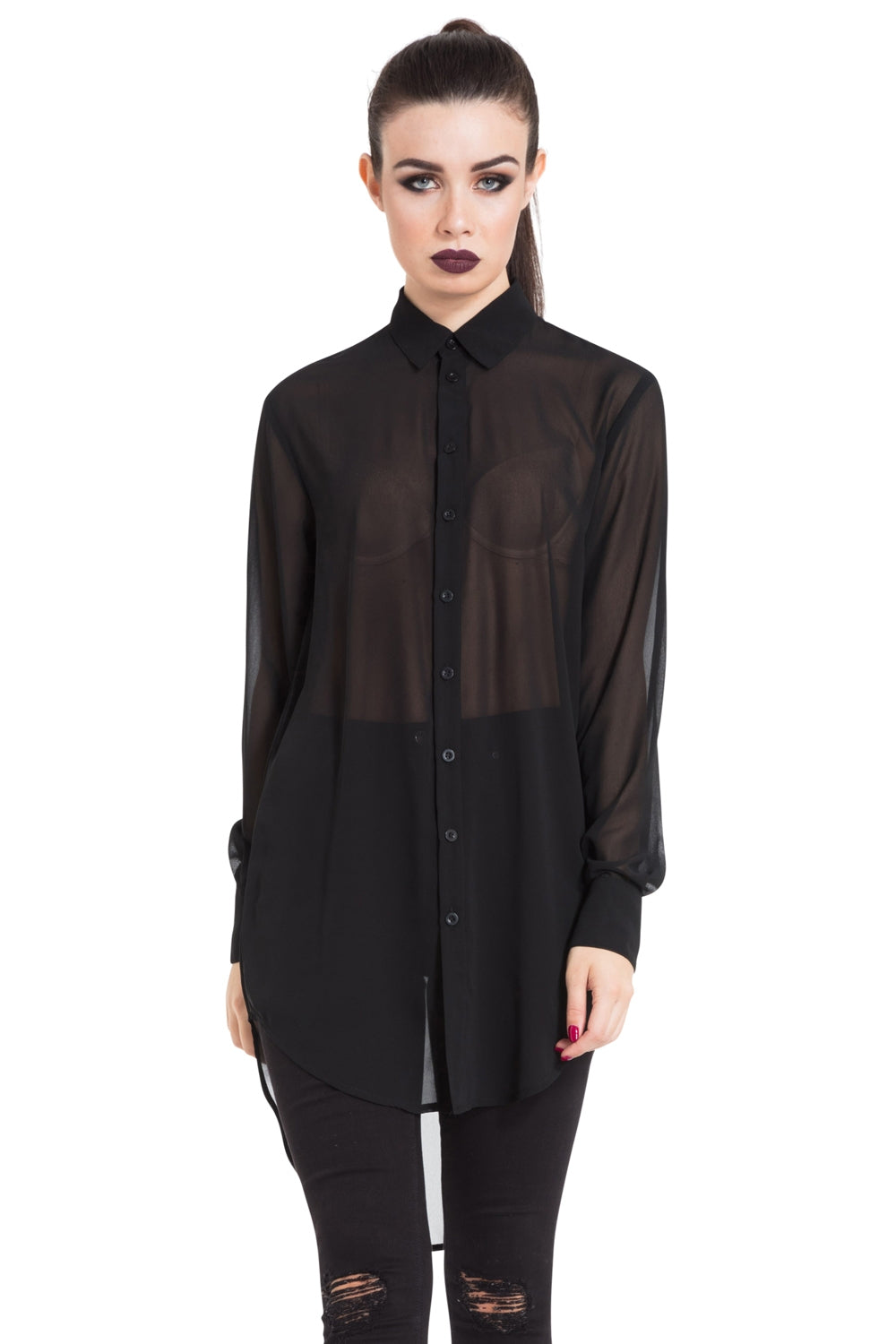 One Direction Black Chiffon Boyfriend Shirt