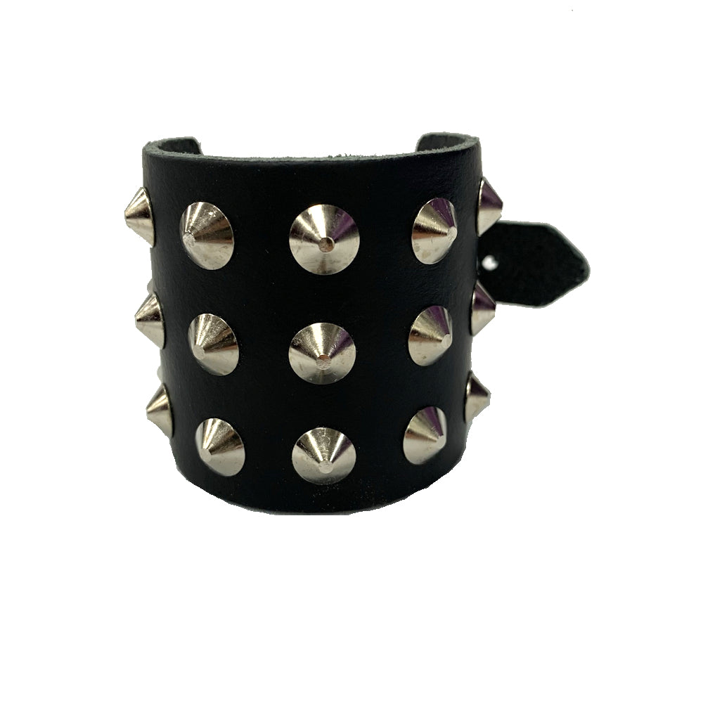 WB003- 3Row Spikes Leather Wristband