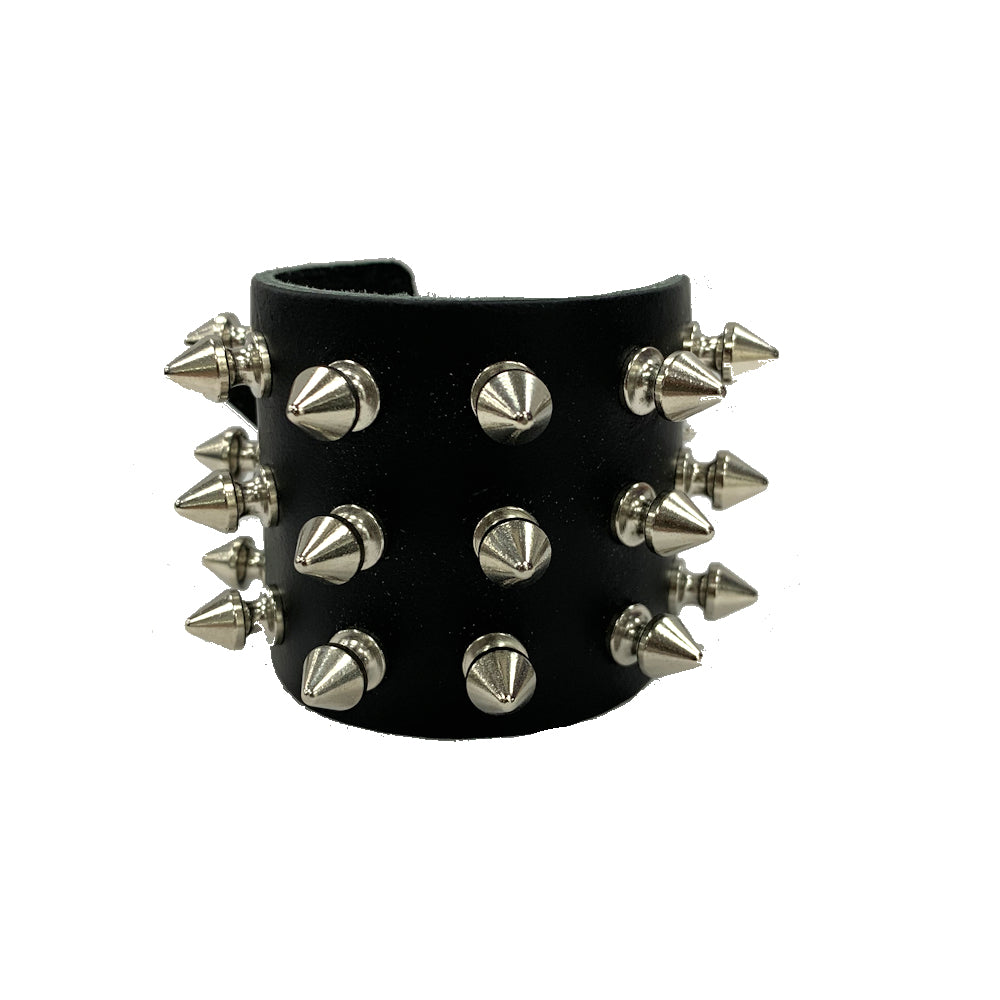WB017- 3Row Spikes Leather Wristband