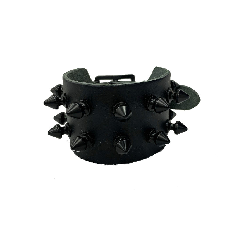 WB149- 2Row Black Spikes Leather Wristband