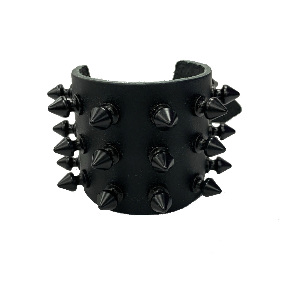 WB150- 3Row Black Spikes Leather Wristband