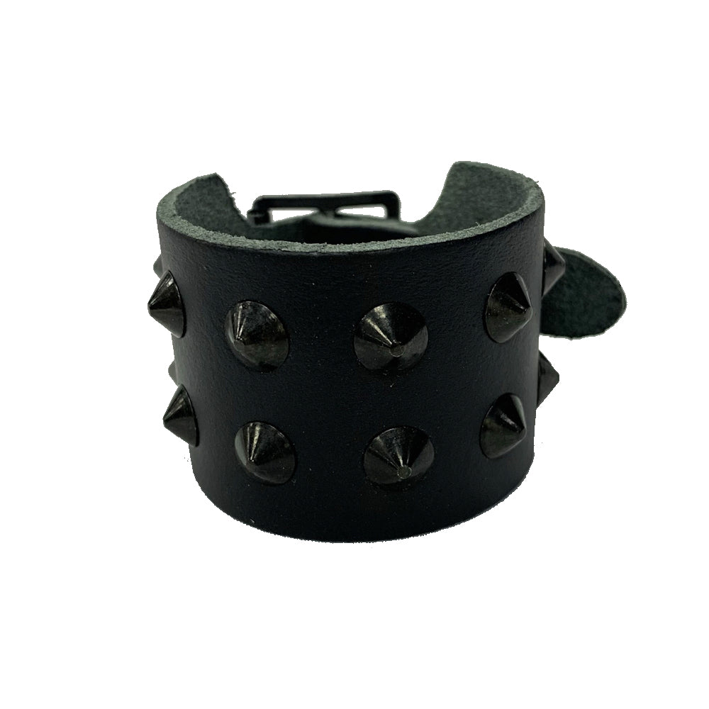 WB249- 2Row Black Spikes Leather Wristband