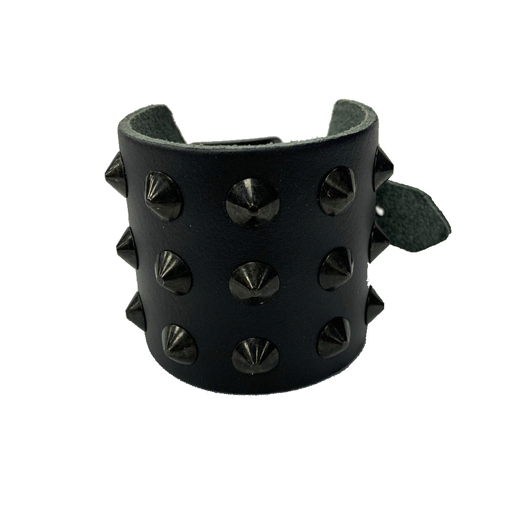 WB250- 3Row Black Spikes Leather Wristband