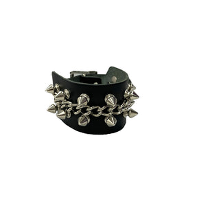 WB464 - Spikes & Chains Leather Wristband