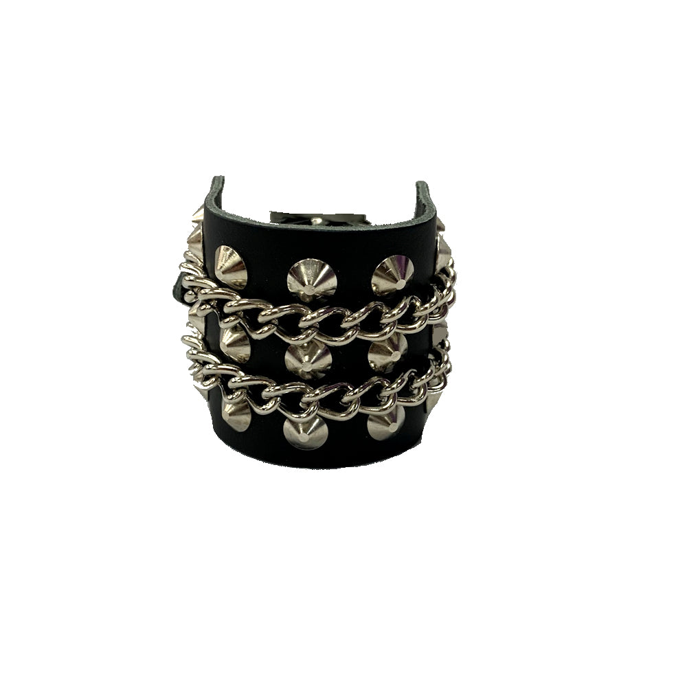 WB503- Spikes & Chains Leather Wristband