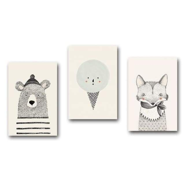 Bears Foxes & Ice-Cream - Canvas Art Series - 20X30 Cm (8X12 Inches) / 3 Piece Set