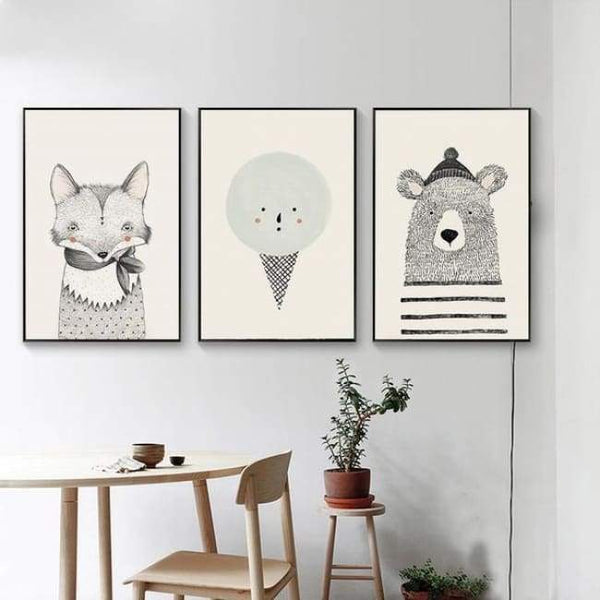 Bears Foxes & Ice-Cream - Canvas Art Series