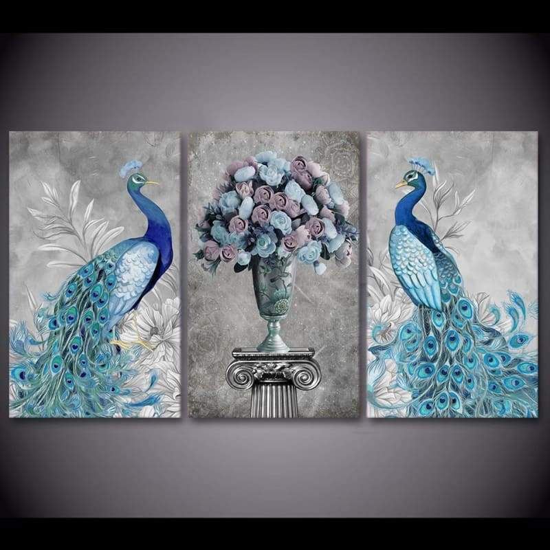 Blue Peacock Elegance - Canvases