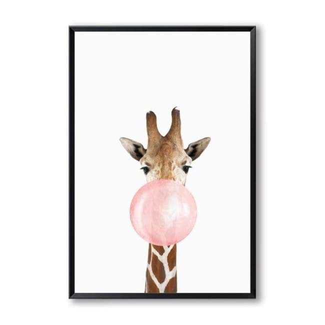 Bubble Gum Zoo Canvas Art - 20X30 Cm (8X12 Inches) / Giraffe - Prints