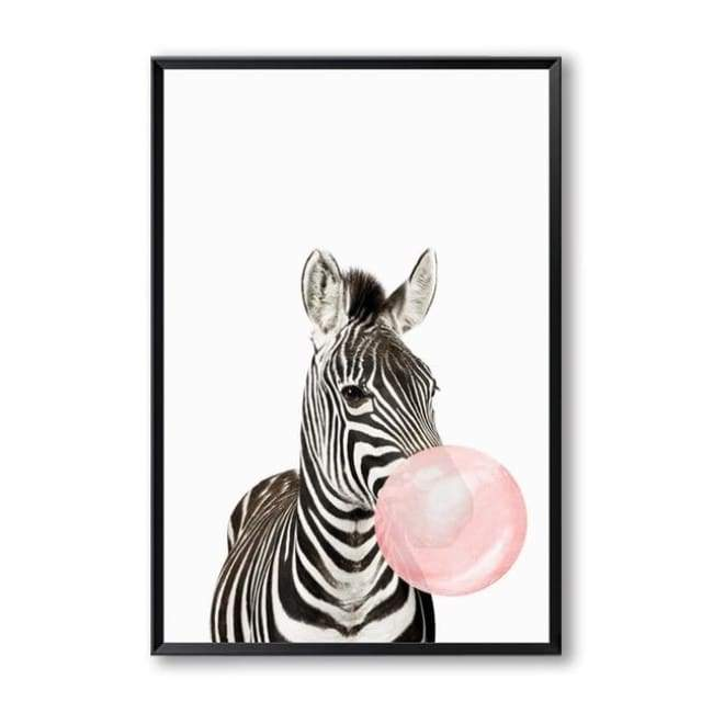 Bubble Gum Zoo Canvas Art - 20X30 Cm (8X12 Inches) / Zebra - Prints