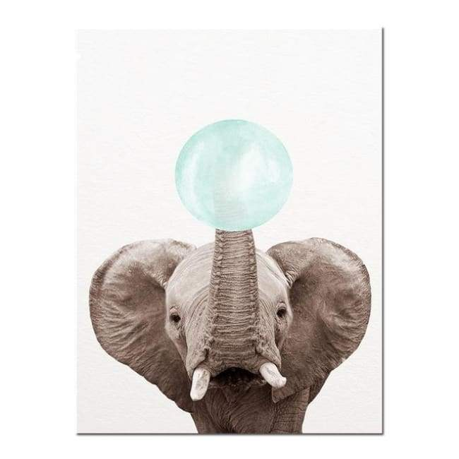 Bubble Gum Zoo Canvas Art - Blue Edition - 20X30 Cm (8X12 Inches) / Elephant - Prints