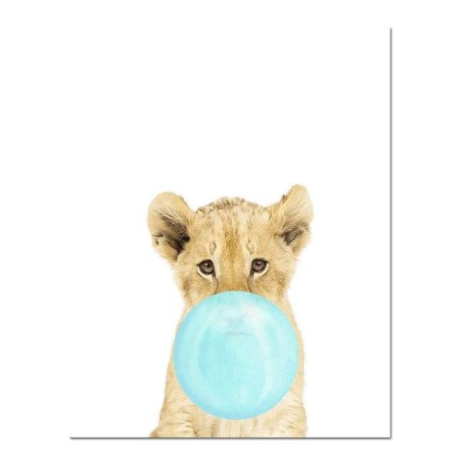 Bubble Gum Zoo Canvas Art - Blue Edition - 20X30 Cm (8X12 Inches) / Tiger - Prints