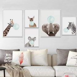 Bubble Gum Zoo Canvas Art - Blue Edition - Prints