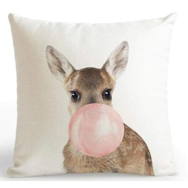 Bubble Gum Zoo Cushion Covers - Deer / 45X45 Cm (18X18 Inches)