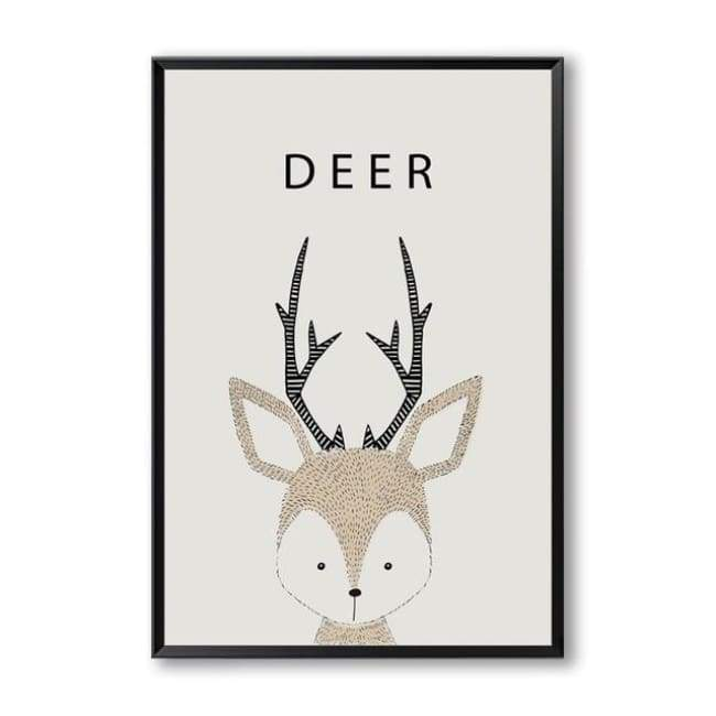 Cartoon Animal Wall Art Series - 20X30 Cm (8X12 Inches) / Deer