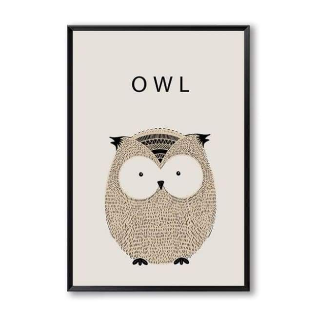 Cartoon Animal Wall Art Series - 20X30 Cm (8X12 Inches) / Owl
