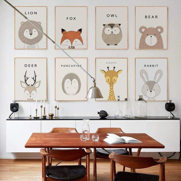 Cartoon Animal Wall Art Series