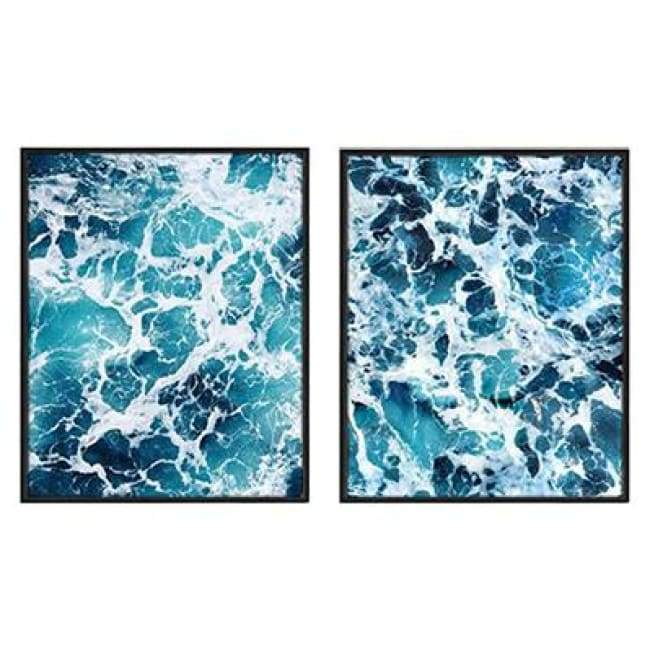 Clashing Waves - 40X50 Cm (16X20 Inches) / 2 Piece Set