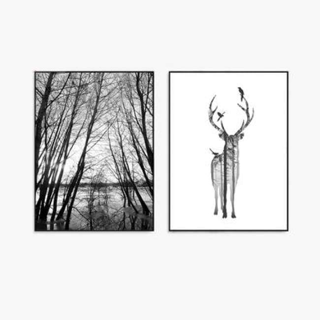 Elegance In My Deer Forest - 20X25Cm (8X10 Inches) / 2 Piece Set - Prints