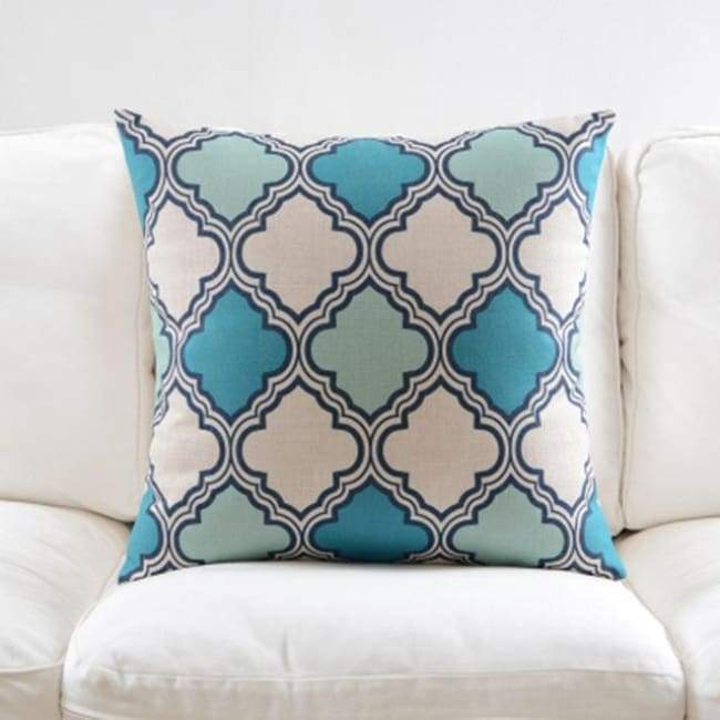 Fresh Blue Cushion Covers - Clover 2 - 45X45 Cm (18X18 Inches)