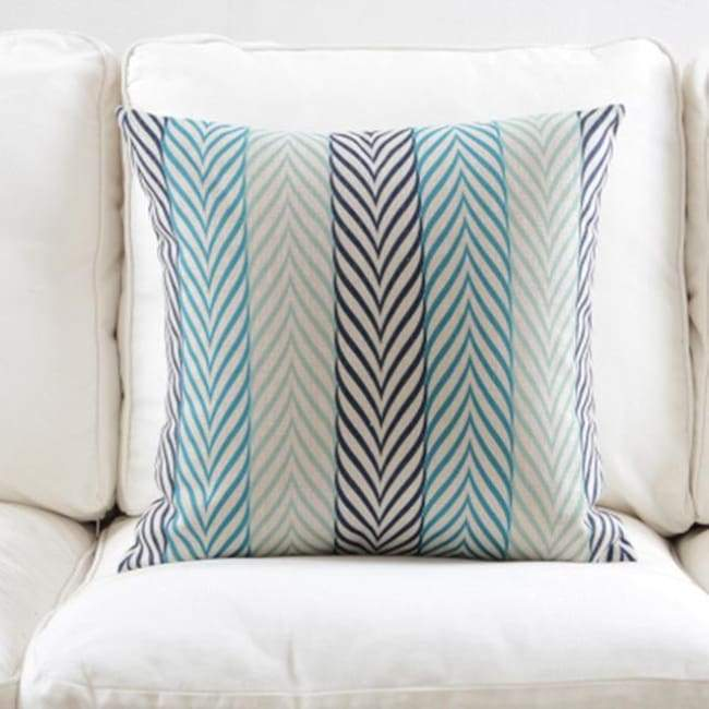 Fresh Blue Cushion Covers - Stripe 2 - 45X45 Cm (18X18 Inches)