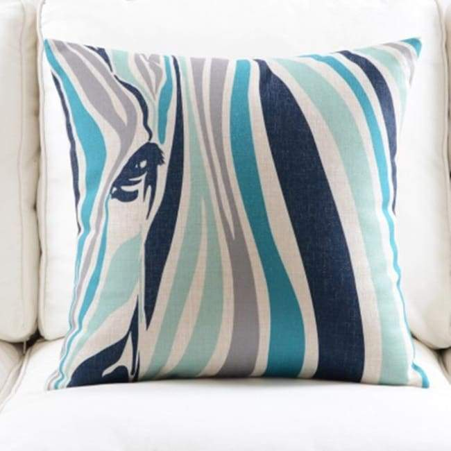 Fresh Blue Cushion Covers - Zebra - 45X45 Cm (18X18 Inches)
