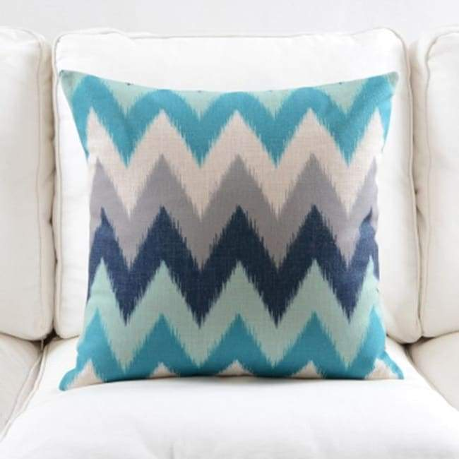 Fresh Blue Cushion Covers - Zig Zag - 45X45 Cm (18X18 Inches)