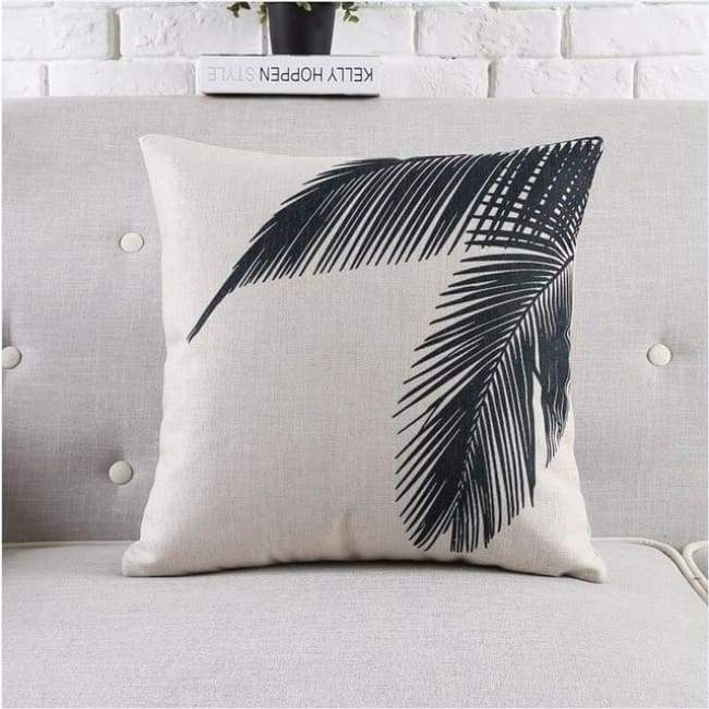 Modern Tropica Cushion Covers - Palm Leaves - 45X45 Cm (18X18 Inches)