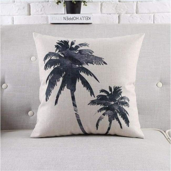 Modern Tropica Cushion Covers - Palm Trees - 45X45 Cm (18X18 Inches)