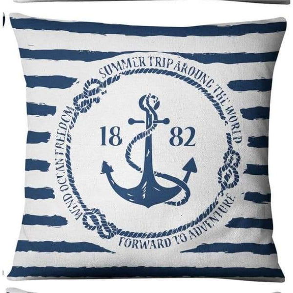 Nautical Cushion Covers - 1882 Striped Anchor
