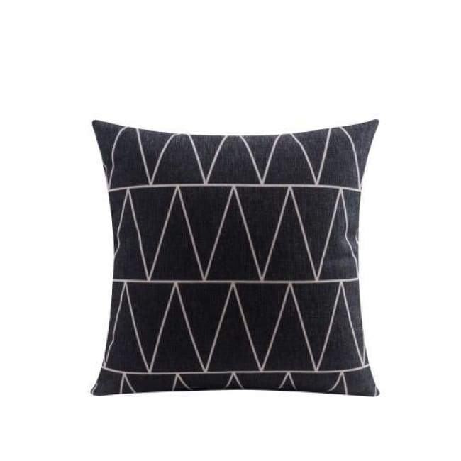 Nordic Cushion Covers - Black Triangles - 45X45 Cm (18X18 Inches)