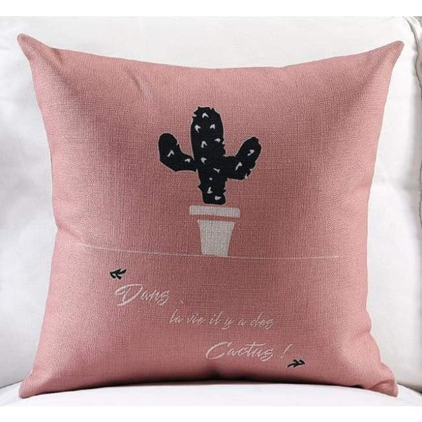 Pink Loving Plants Cushion Covers - Cactus / 45X45 Cm (18X18 Inches)